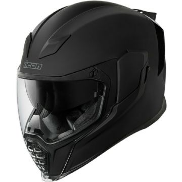 Icon Airflite Rubatone Matt Black Full Face Motorcycle Motorbike Helmet